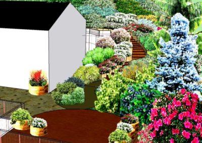 Wizualizacja komputerowa ogrodu przydomowego