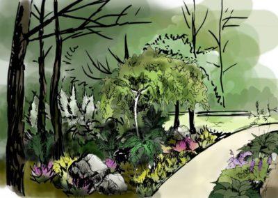 Wizualizacja ogrodu leśnego