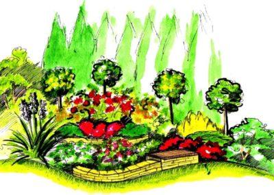 Wizualizacja części wypoczynkowej ogrodu