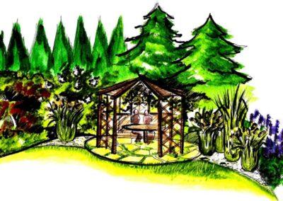 Wizualizacja altanki w otoczeniu traw