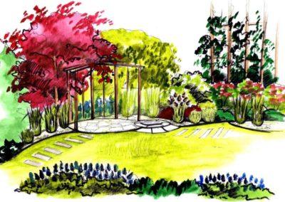 wizualizacja częśći relaksacyjnej ogrodu przy budynku jednorodzinnym